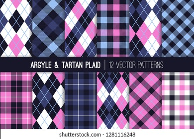 Navy, Indigo, Blue and Pink Argyle and Tartan Plaid Seamless Vector Patterns. Preppy Fashion Prints. High School Uniform Style. Repeating Tile Swatches Included.