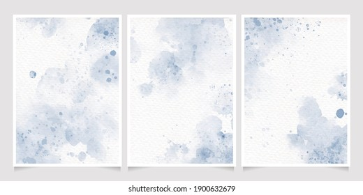 navy indigo blue watercolor wet wash splash on paper birthday or wedding invitation card background template collection