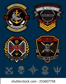 Navy military patch set