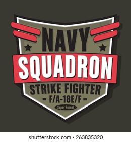 Navy military typography, t-shirt graphics, vectors