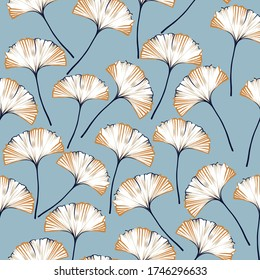 navy and mustered vector seamless pattern on blue background