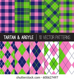 Navy Pink Green Golf Patterns: Argyle, Tartan and Gingham Plaid. Preppy Style Women's Golf Fashion Backgrounds.  Perfect for Charity Golf Events or Birthday Party Decor. Vector Tile Swatches Included.