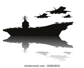 Navy power.  Aircraft carrier and flying aircrafts. Vector silhouettes.