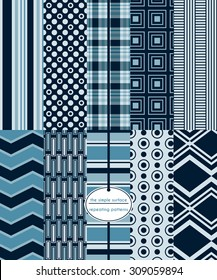 Navy repeating patterns for scrapbook paper, cards, invitations, backgrounds, fabric and more.  Includes: stripes, plaid, chevrons, polka dots, rectangles, squares and more. Modern abstract prints.