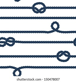 Navy rope and marine knots striped seamless pattern in blue and white, vector