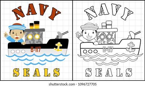 Navy seals cartoon with happy sailor, coloring page or book, vector cartoon illustration