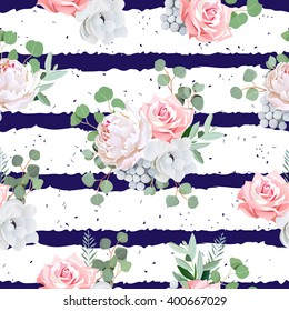 Navy striped print with bouquets of rose, peony, anemone, brunia flowers and eucalyptus leaves. Seamless vector pattern with speckled backdrop.