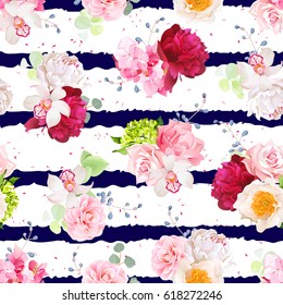 Navy striped print with bouquets of rose, peony, hydrangea, camellia, carnation and eucalyptus leaves. Seamless vector pattern with speckled backdrop.  All elements are isolated and editable