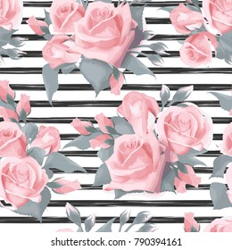 Navy striped print with bouquets of rose flowers Seamless vector pattern