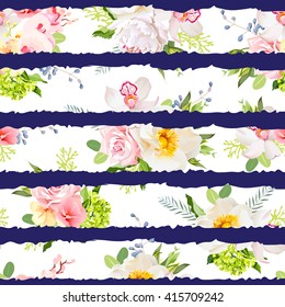 Navy striped print with bouquets of wild rose, peony, orchid, bright garden flowers and leaves. Seamless vector pattern.