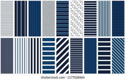 Navy stripes. Set of 18 repeating patterns for fabric, backgrounds, scrapbook paper, gift wrap and more. Navy blue stripe pattern swatches. Classic, retro, vintage and modern pattern tiles.