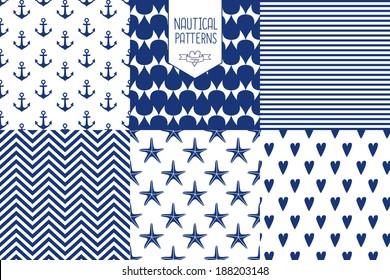 Navy vector seamless patterns set: wave, anchor, drop, heart, starfish, stripe. Cute nautical backgrounds.