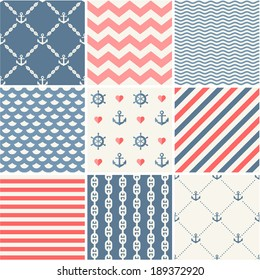 Navy vector seamless patterns set: waves, anchors, chains and strips