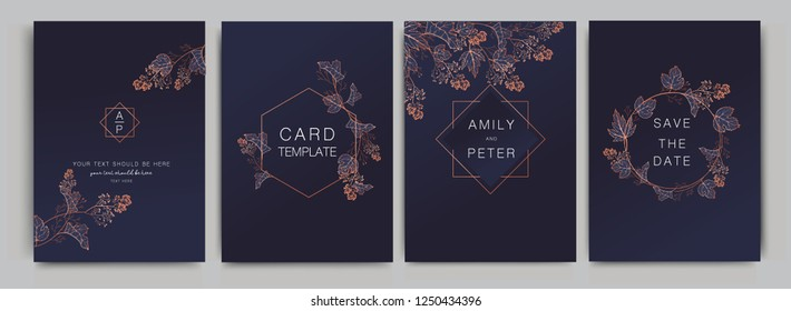 Navy Wedding Invitation, floral invite thank you, rsvp modern card Design in Copper grape with red berry and leaf branches decorative Vector elegant rustic template