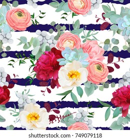 Navy and white striped pattern with autumn mixed bouquets of red peony, pink ranunculus, succulents, wild rose, carnation, brunia and eucalyptus leaves background. Vector seamless print with flowers.