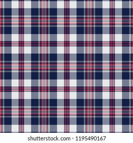 Navy and White Tartan Plaid Scottish Pattern