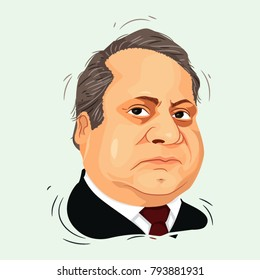 Nawaz Sharif caricature cartoon vector