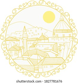 Nazareth holy linear cityscape with sun in mandala surrounded by floral motifs, yellow and white on transparent vector.