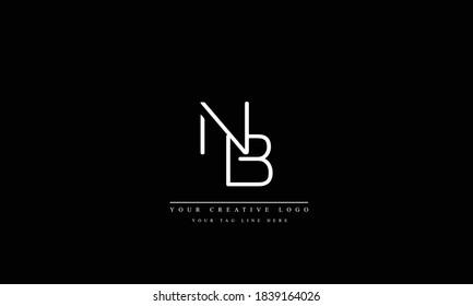 NB BN abstract vector logo monogram template