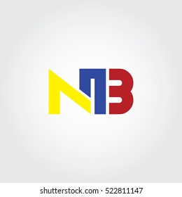 NB flat initial letter logo combining yellow, blue and red