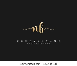 NB initial handwriting logo template with luxury color vector