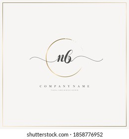 NB Initial Letter handwriting logo hand drawn template vector, logo for beauty, cosmetics, wedding, fashion and business