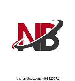 NB initial logo company name colored red and black swoosh design, isolated on white background. vector logo for business and company identity.