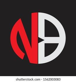 NB Initial Logo design Monogram Isolated on black background
