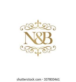 N&B Initial logo. Ornament ampersand monogram golden logo