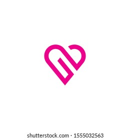 nb initial love logo template vector