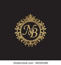 NB initial luxury ornament monogram logo