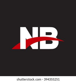 NB initial overlapping swoosh letter logo white red black background