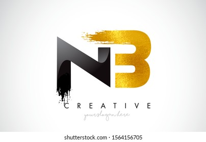NB Letter Design with Black Golden Brush Stroke and Modern Look Vector Illustration.