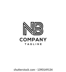 NB Letter Line logo template isolated on white background