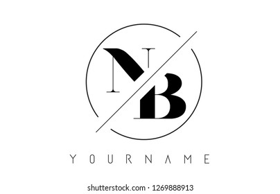 NB Letter Logo with Cutted and Intersected Design and Round Frame Vector Illustration