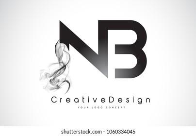 NB Letter Logo Design with Black Smoke. Creative Modern Smoke Letters Vector Icon Logo Illustration.
