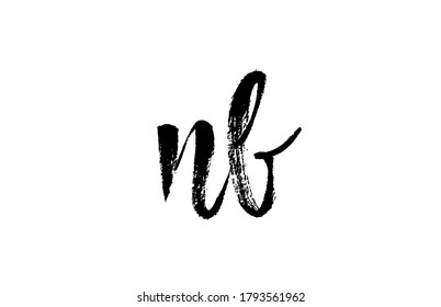 NB N B alphabet letter logo icon combination. Grunge handwritten vintage design. Black white color for company and business