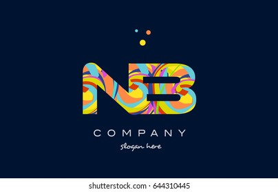 nb n b alphabet letter logo colors colorful rainbow acrylic font creative text dots company vector icon design template