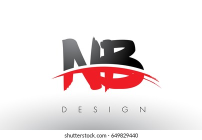NB N B Brush Logo Letters Design with Red and Black Colors and Brush Letter Concept.