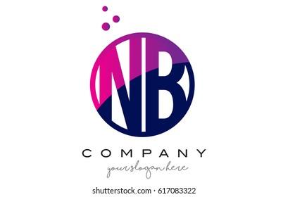 NB N B Circle Letter Logo Design with Purple Magenta Dots Bubbles Vector Illustration