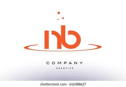 NB N B creative orange swoosh dots alphabet company letter logo design vector icon template