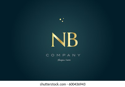 nb n b  gold golden luxury product metal metallic alphabet company letter logo design vector icon template green background
