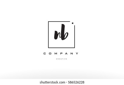 nb n b hand writing written black white alphabet company letter logo square background small lowercase design creative vector icon template