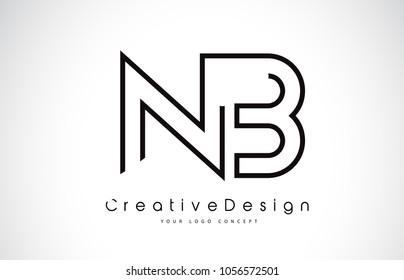 NB N B Letter Logo Design in Black Colors. Creative Modern Letters Vector Icon Logo Illustration.