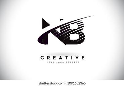 NB N B Letter Logo Design with Swoosh and Black Lines. Modern Creative zebra lines Letters Vector Logo