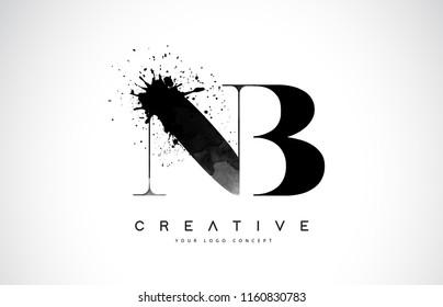 NB N B Letter Logo Design with Black Ink Watercolor Splash Spill Vector Illustration.