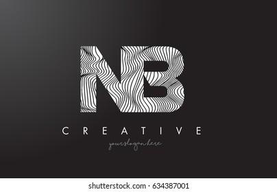 NB N B Letter Logo with Zebra Lines Texture Design Vector Illustration.