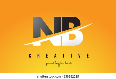 NB N B Letter Modern Logo Design with Swoosh Cutting the Middle Letters and Yellow Background.