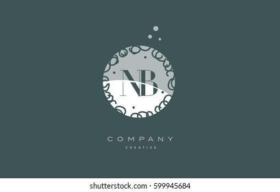 nb n b  monogram floral vintage retro green white alphabet decorative company letter logo design vector icon template