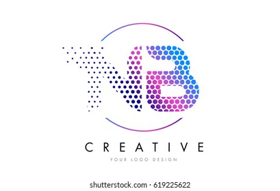 NB N B Pink Magenta Dotted Bubble Letter Logo Design. Dots Lettering Vector Illustration